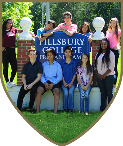 Students pose in front of Pillsbury College Prep Sign for boarding school tuition page